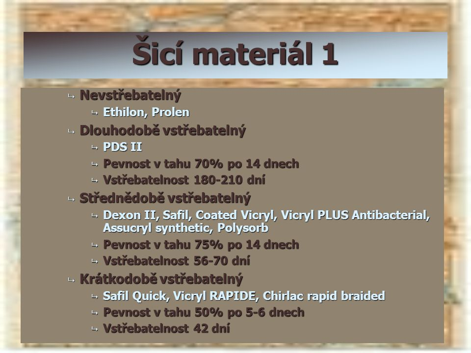 Šicí materiál 1 Nevstřebatelný Dlouhodobě vstřebatelný