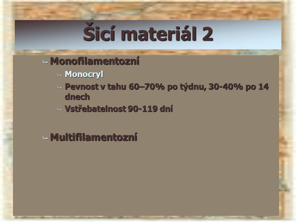Šicí materiál 2 Monofilamentozní Multifilamentozní Monocryl