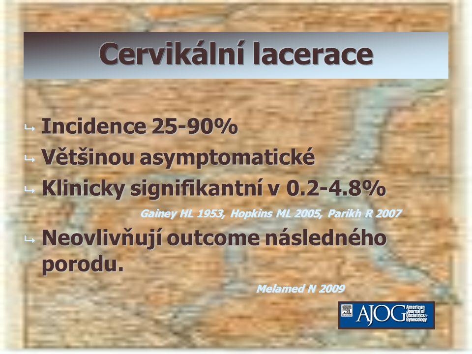 Cervikální lacerace Incidence 25-90% Většinou asymptomatické