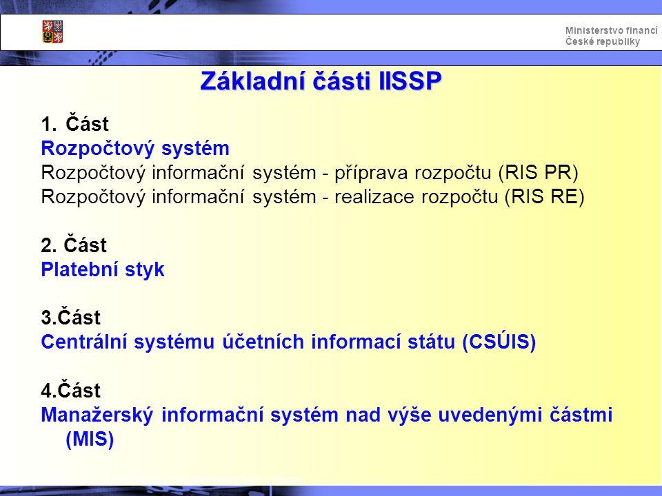 Základní části IISSP Část Rozpočtový systém