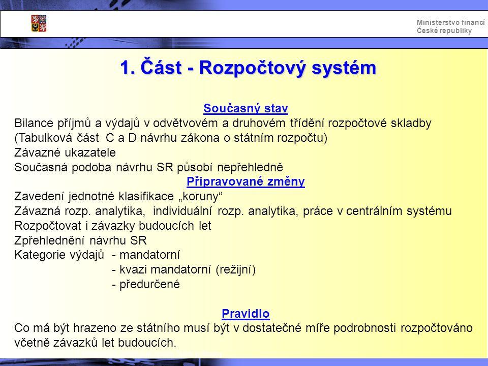 1. Část - Rozpočtový systém