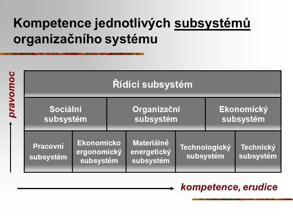 Kompetence jednotlivých subsystémů organizačního systému