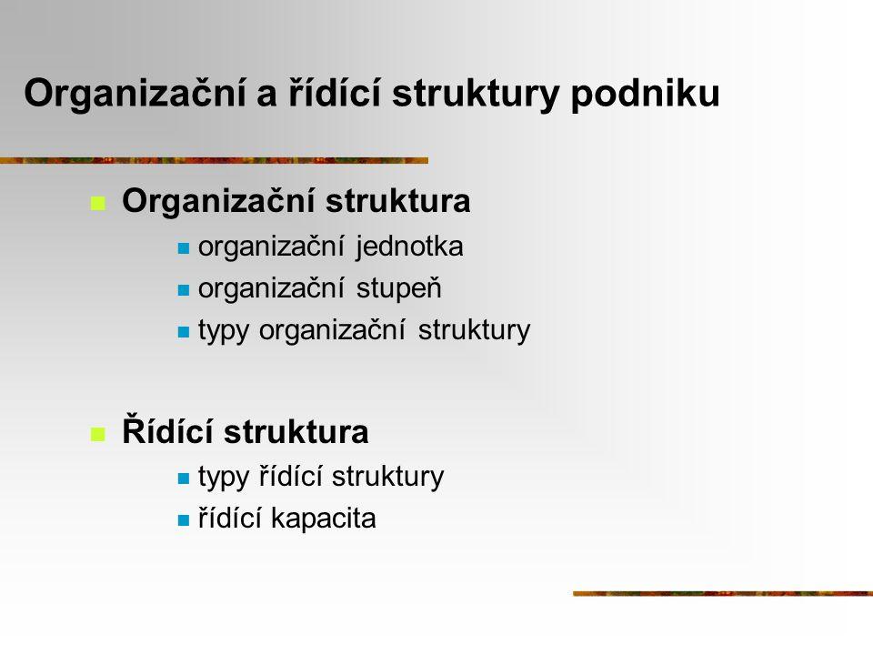 Organizační a řídící struktury podniku