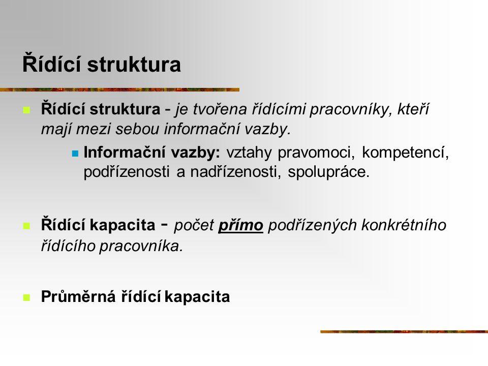 Řídící struktura Řídící struktura - je tvořena řídícími pracovníky, kteří mají mezi sebou informační vazby.