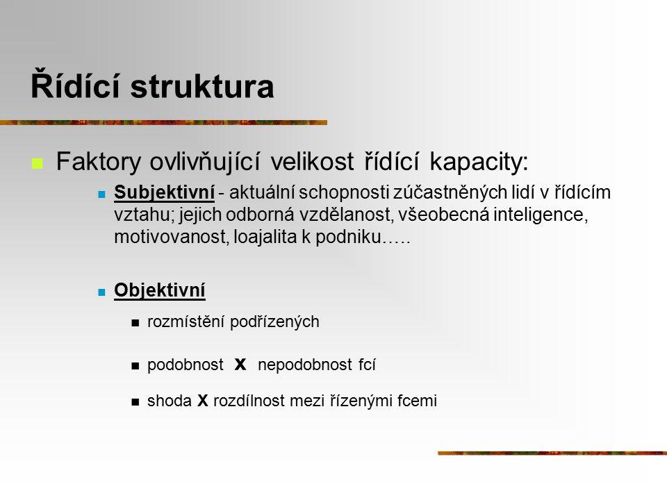 Řídící struktura Faktory ovlivňující velikost řídící kapacity: