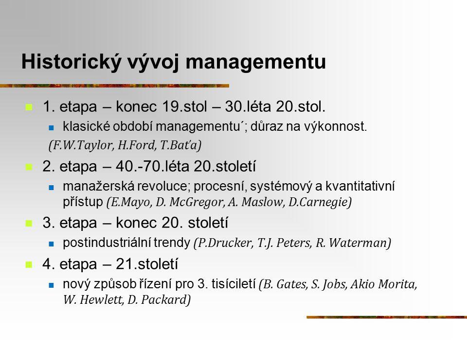 Historický vývoj managementu