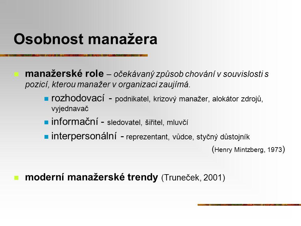 Osobnost manažera manažerské role – očekávaný způsob chování v souvislosti s pozicí, kterou manažer v organizaci zaujímá.