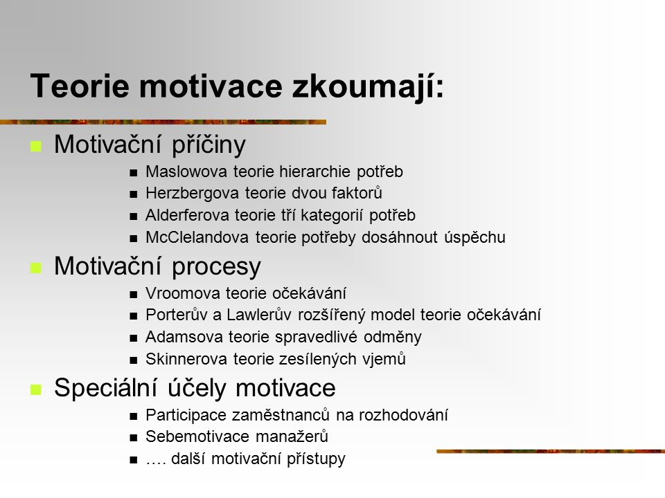 Teorie motivace zkoumají: