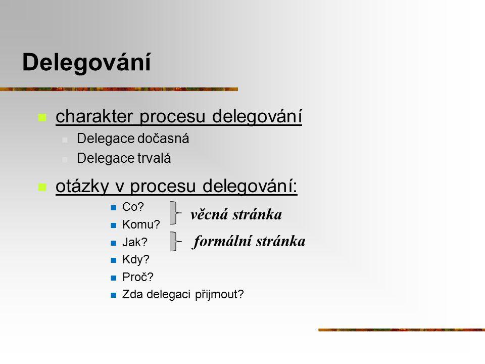 Delegování charakter procesu delegování otázky v procesu delegování: