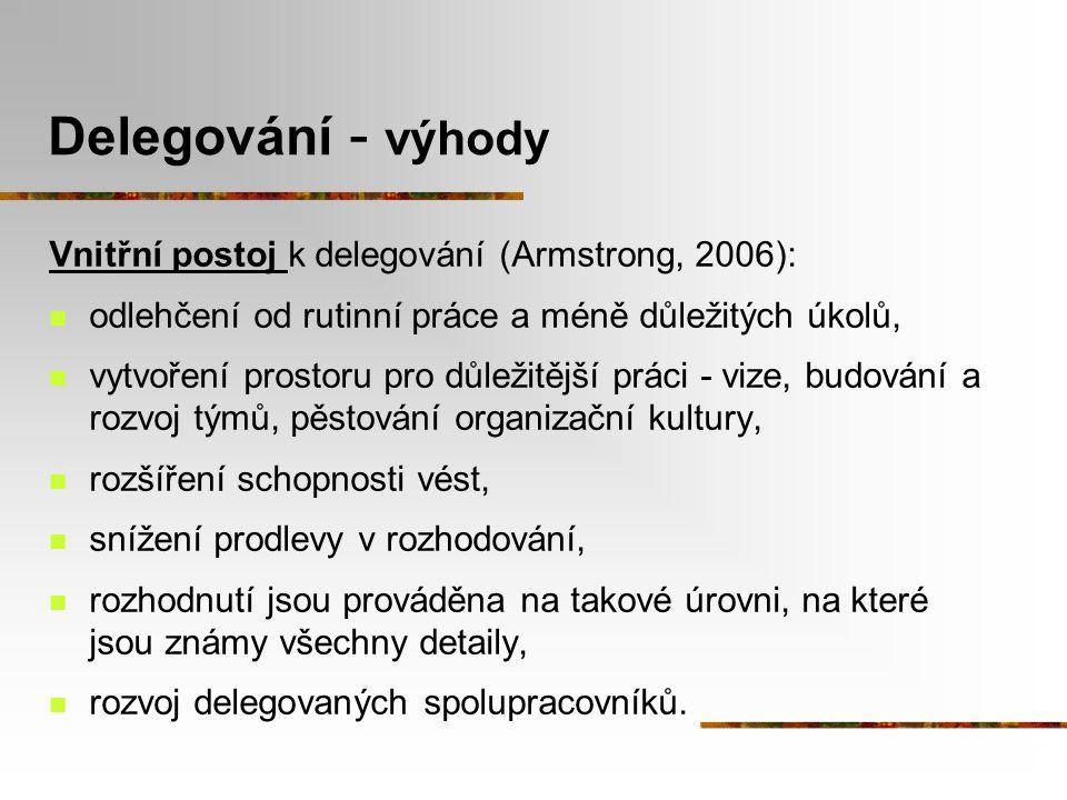 Delegování - výhody Vnitřní postoj k delegování (Armstrong, 2006):