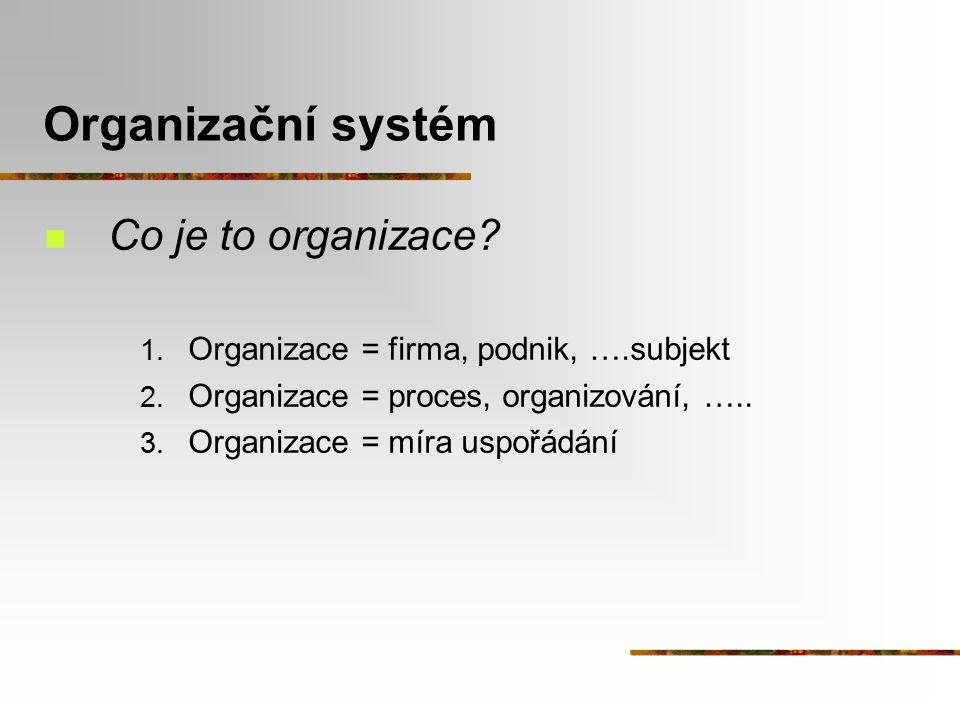 Organizační systém Co je to organizace
