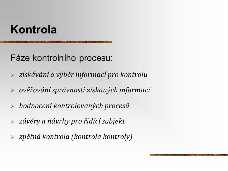 Kontrola Fáze kontrolního procesu: