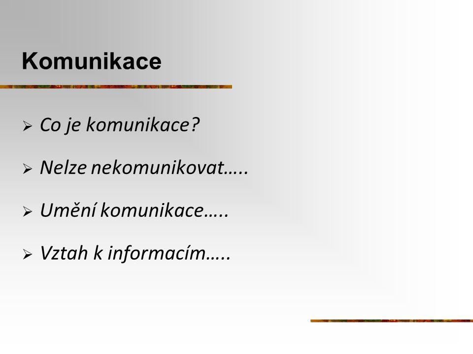 Komunikace Co je komunikace Nelze nekomunikovat…..