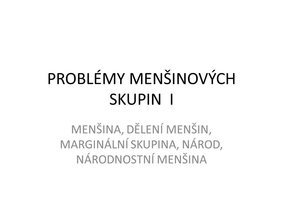 PROBLÉMY MENŠINOVÝCH SKUPIN I
