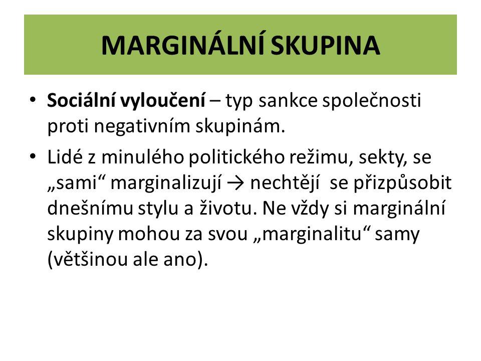 Marginální skupina Sociální vyloučení – typ sankce společnosti proti negativním skupinám.