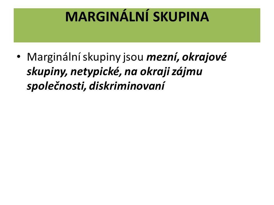 Marginální skupina Marginální skupiny jsou mezní, okrajové skupiny, netypické, na okraji zájmu společnosti, diskriminovaní.