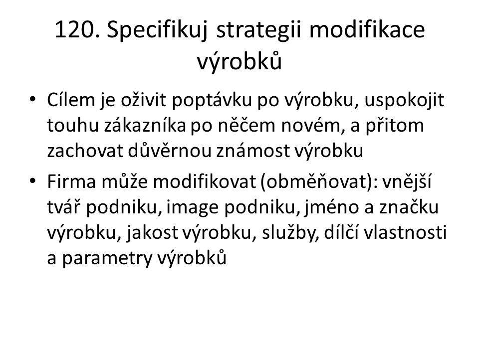 120. Specifikuj strategii modifikace výrobků