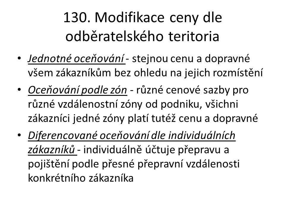 130. Modifikace ceny dle odběratelského teritoria