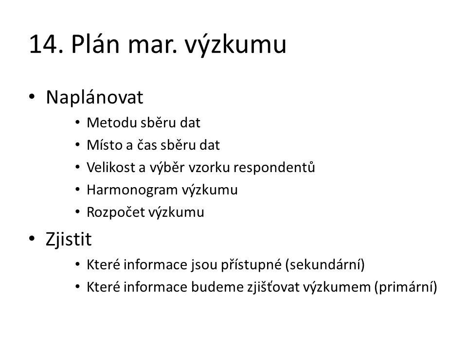 14. Plán mar. výzkumu Naplánovat Zjistit Metodu sběru dat