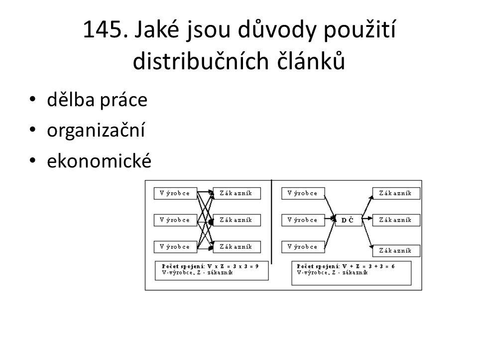 145. Jaké jsou důvody použití distribučních článků