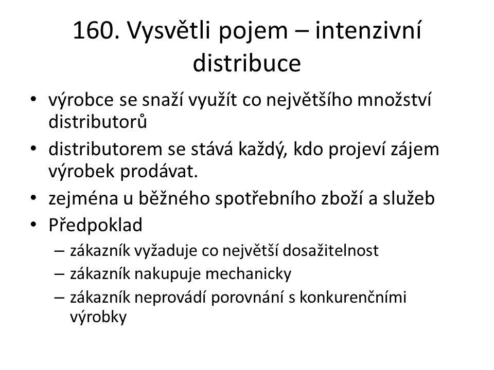 160. Vysvětli pojem – intenzivní distribuce