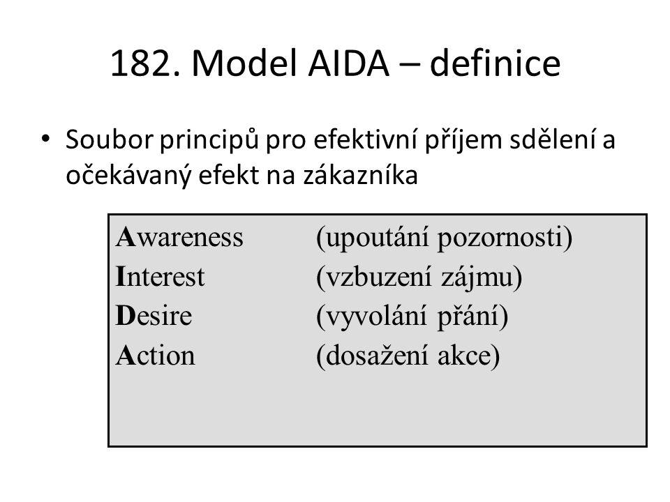 182. Model AIDA – definice Soubor principů pro efektivní příjem sdělení a očekávaný efekt na zákazníka.