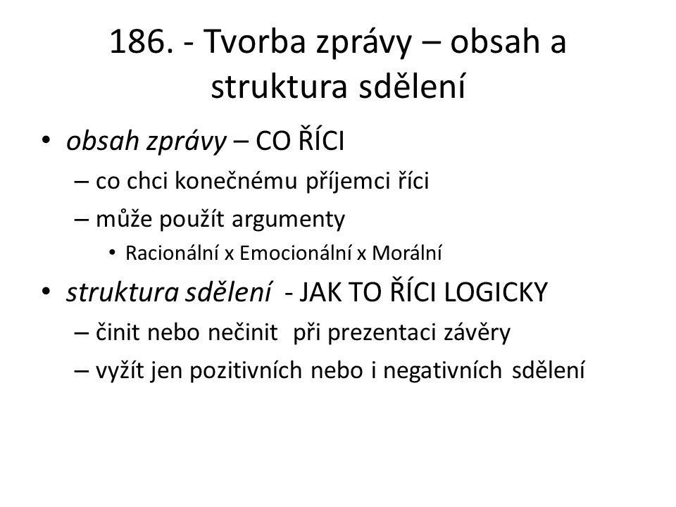 186. - Tvorba zprávy – obsah a struktura sdělení