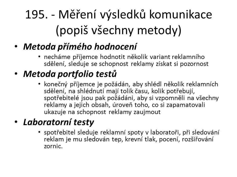 195. - Měření výsledků komunikace (popiš všechny metody)