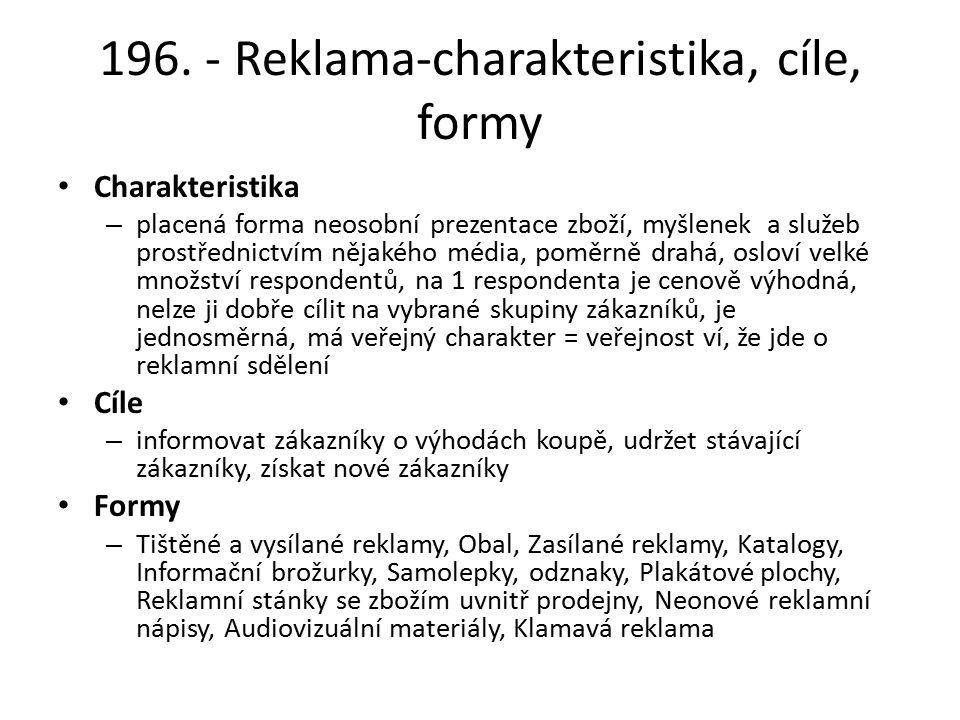 196. - Reklama-charakteristika, cíle, formy