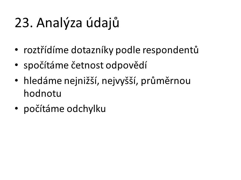 23. Analýza údajů roztřídíme dotazníky podle respondentů