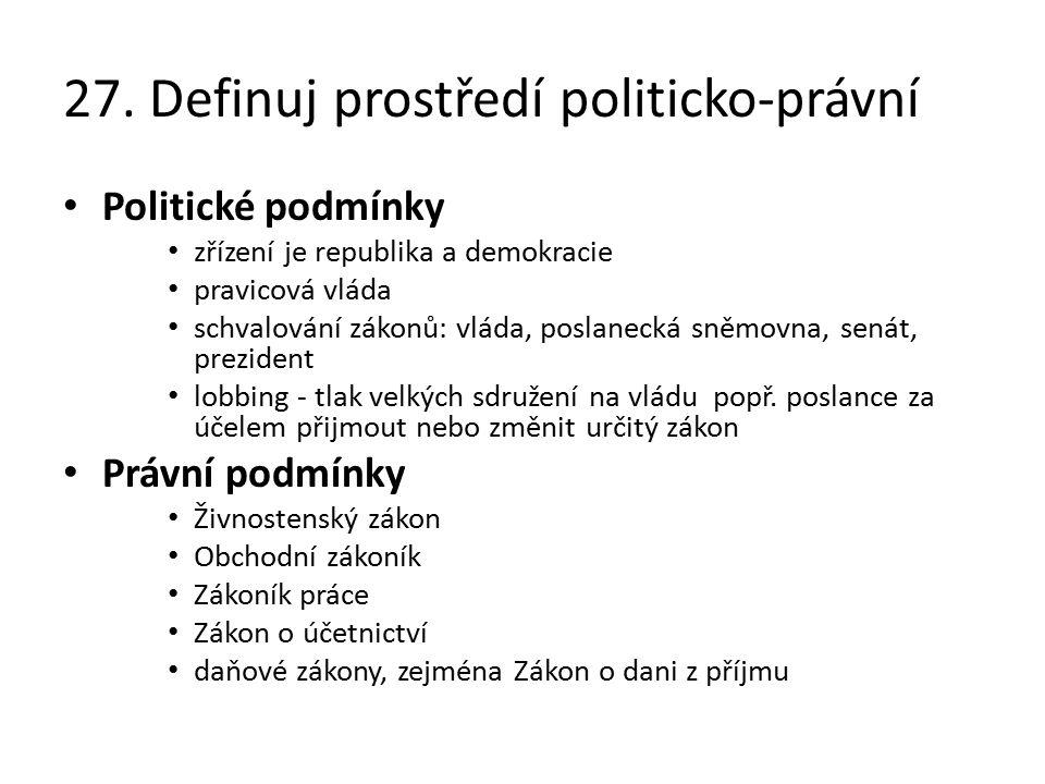 27. Definuj prostředí politicko-právní