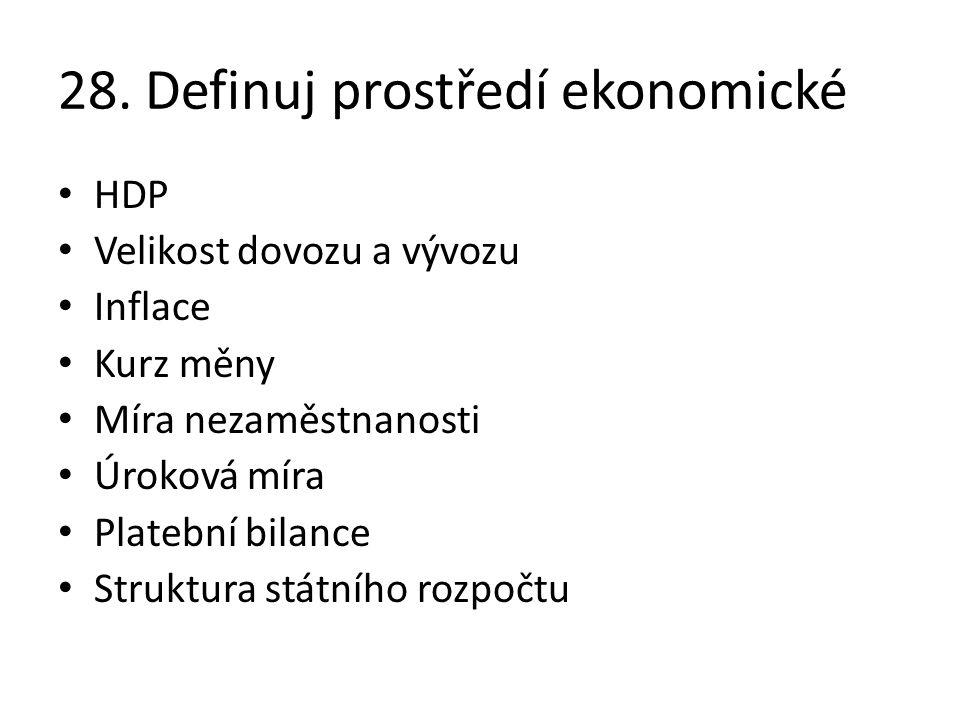 28. Definuj prostředí ekonomické