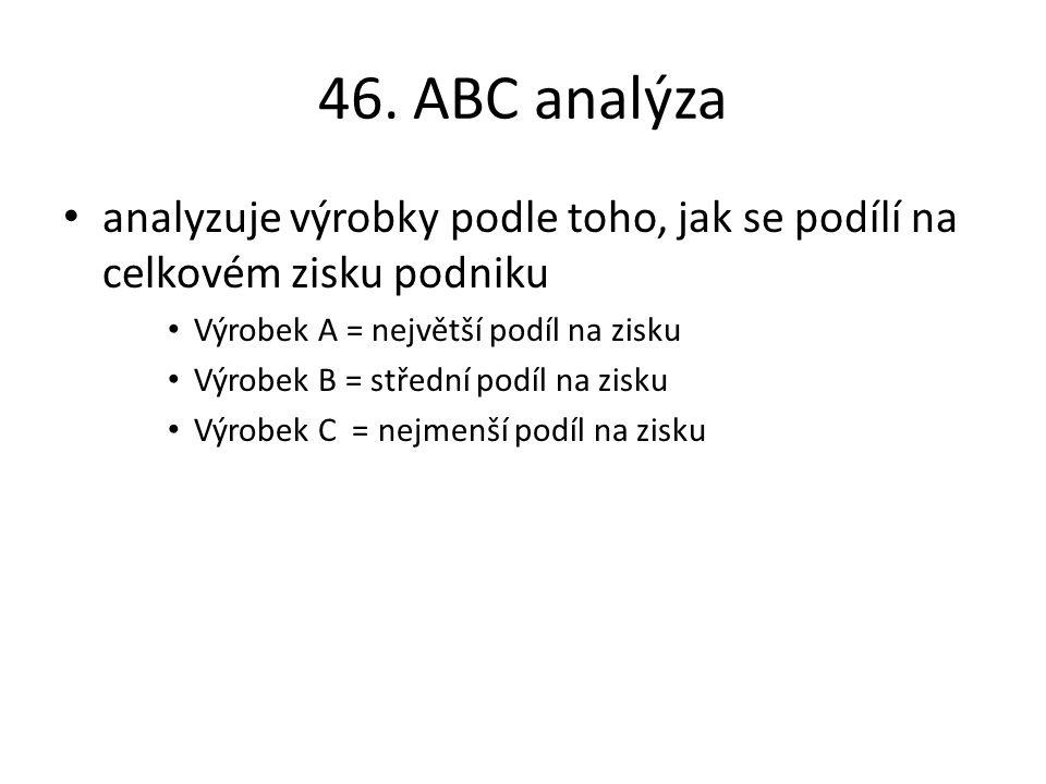 46. ABC analýza analyzuje výrobky podle toho, jak se podílí na celkovém zisku podniku. Výrobek A = největší podíl na zisku.