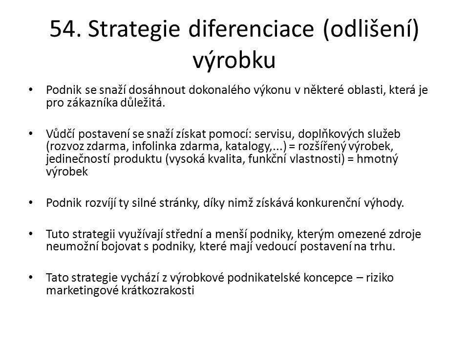 54. Strategie diferenciace (odlišení) výrobku
