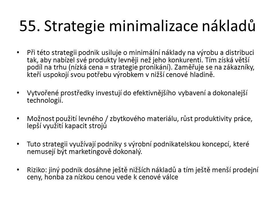 55. Strategie minimalizace nákladů