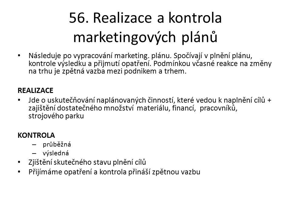 56. Realizace a kontrola marketingových plánů