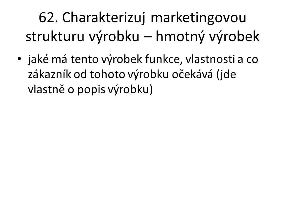 62. Charakterizuj marketingovou strukturu výrobku – hmotný výrobek