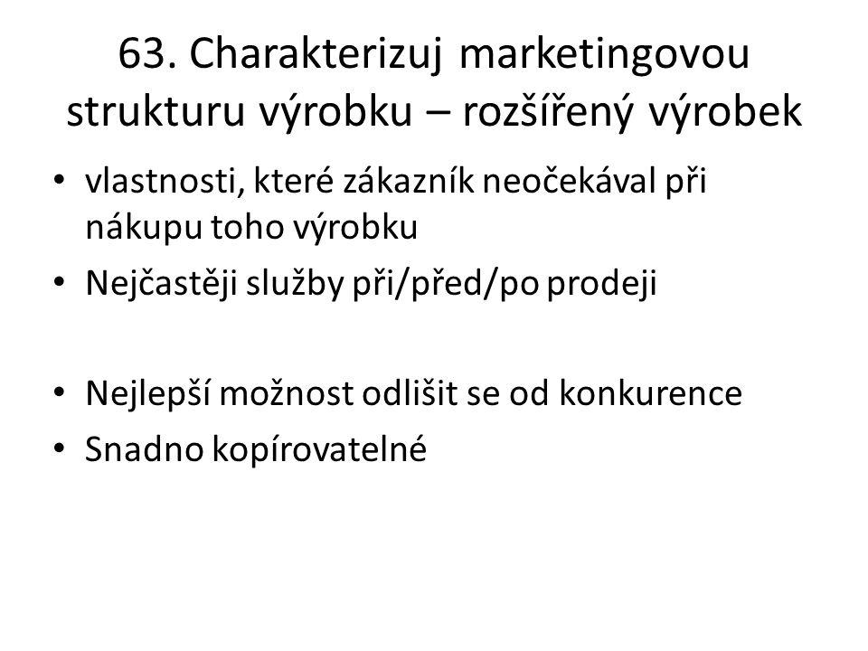 63. Charakterizuj marketingovou strukturu výrobku – rozšířený výrobek