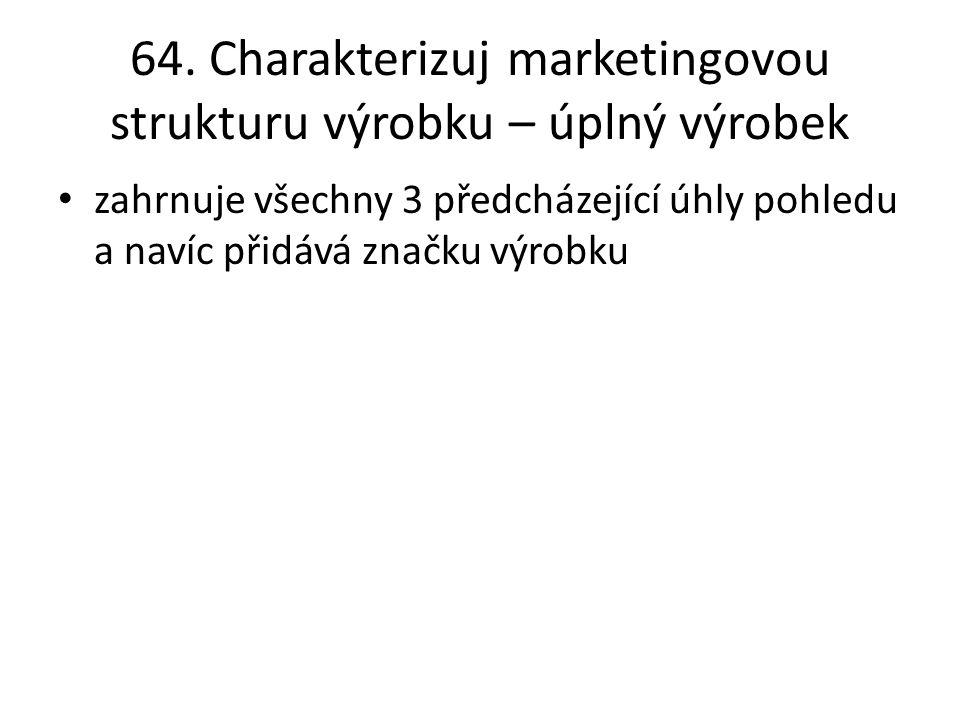 64. Charakterizuj marketingovou strukturu výrobku – úplný výrobek