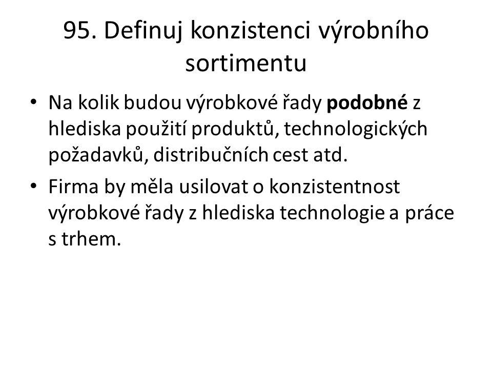 95. Definuj konzistenci výrobního sortimentu