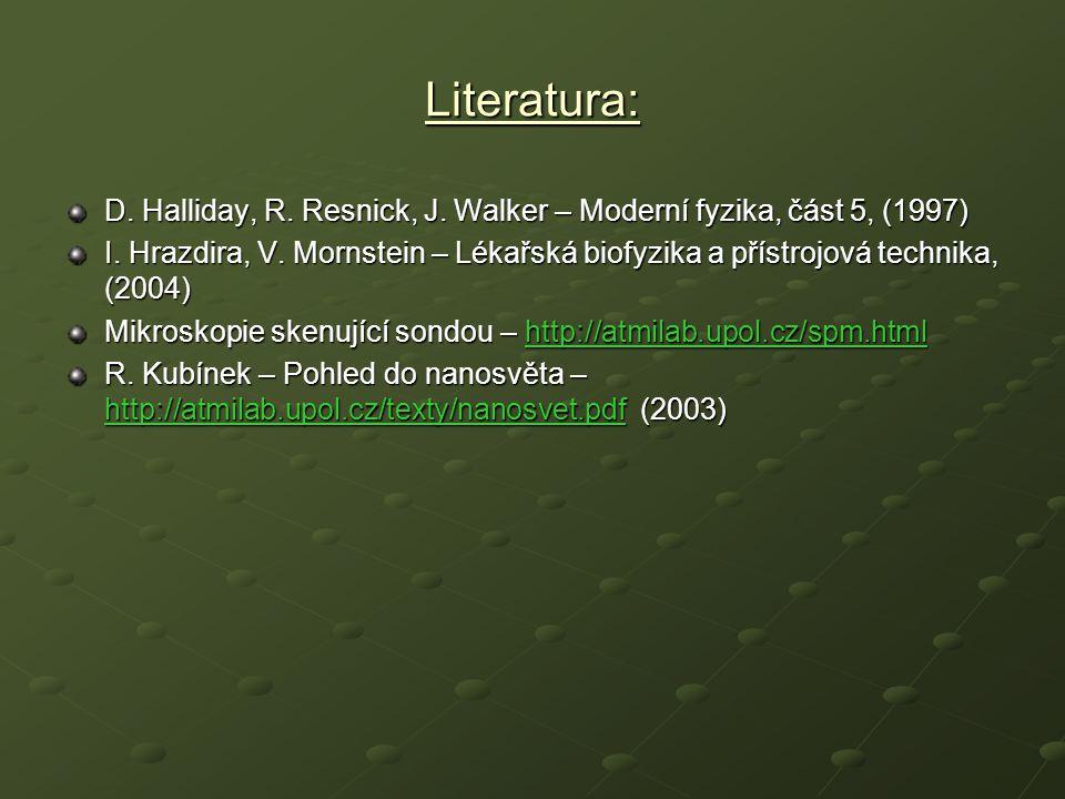 Literatura: D. Halliday, R. Resnick, J. Walker – Moderní fyzika, část 5, (1997)