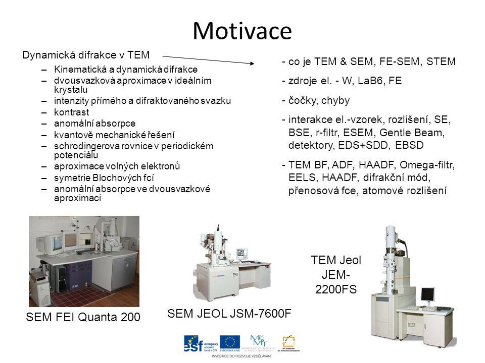 Motivace TEM Jeol JEM-2200FS SEM JEOL JSM-7600F SEM FEI Quanta 200