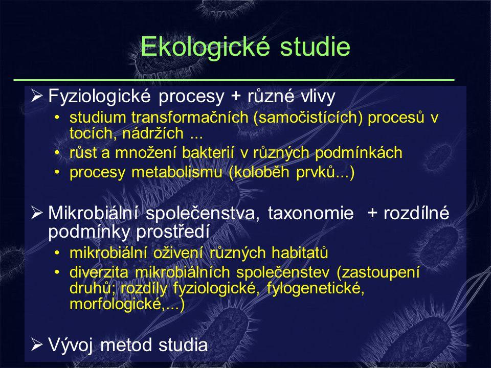 Ekologické studie Fyziologické procesy + různé vlivy