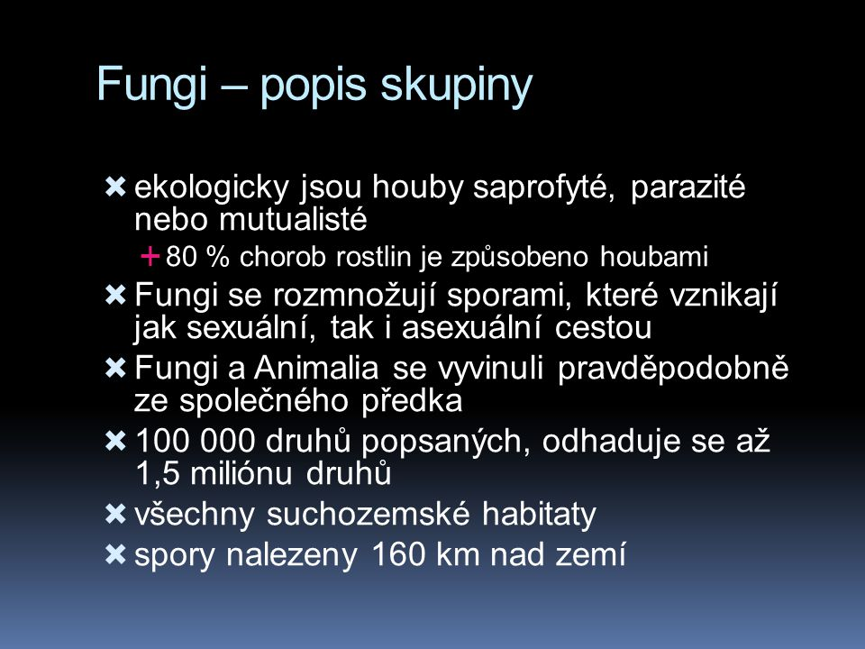 Fungi – popis skupiny ekologicky jsou houby saprofyté, parazité nebo mutualisté. 80 % chorob rostlin je způsobeno houbami.