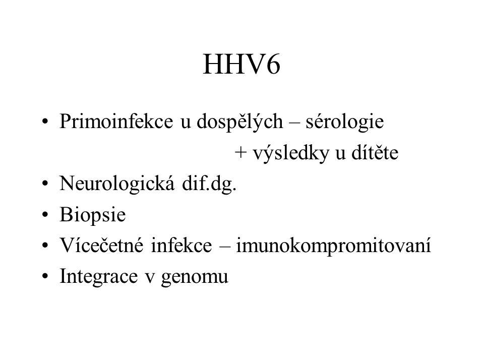 HHV6 Primoinfekce u dospělých – sérologie + výsledky u dítěte