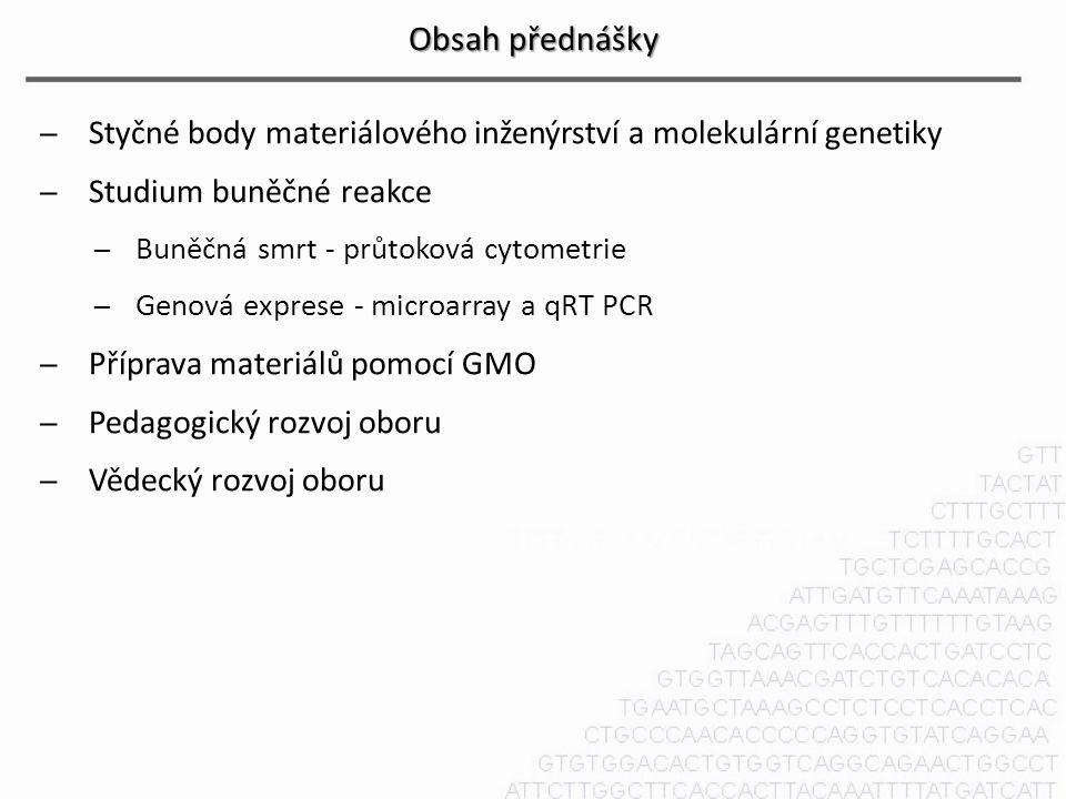 Obsah přednášky Styčné body materiálového inženýrství a molekulární genetiky. Studium buněčné reakce.