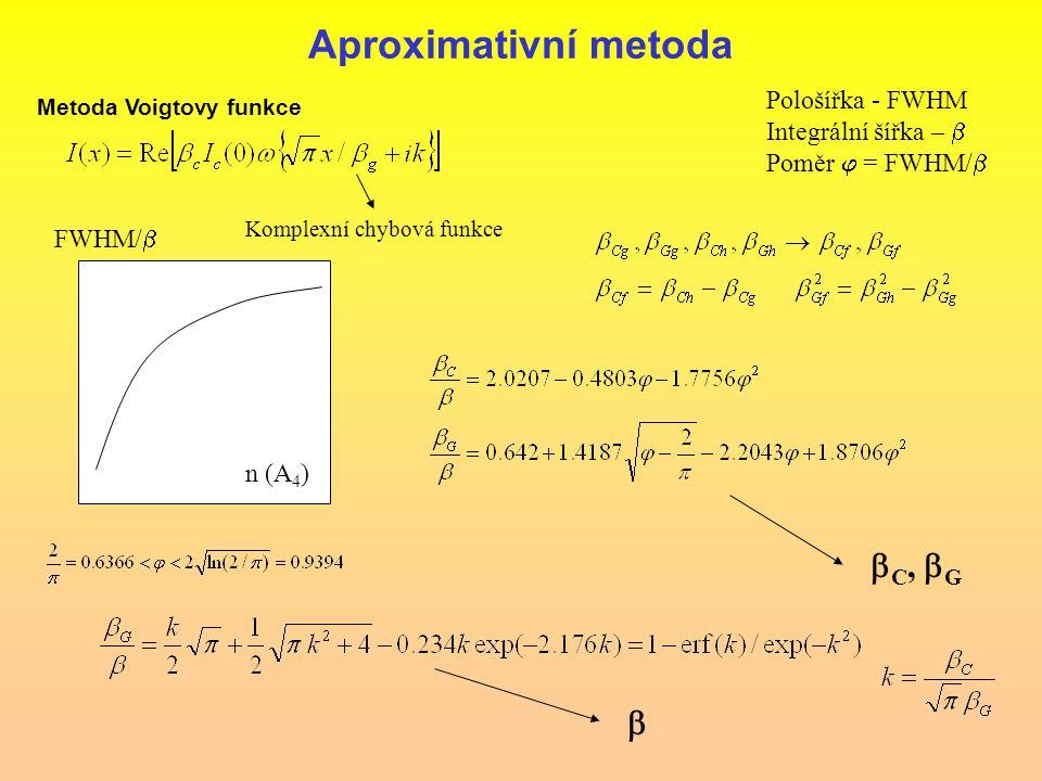 Aproximativní metoda bC, bG b Pološířka - FWHM Integrální šířka – b