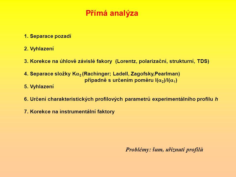 Přímá analýza Problémy: šum, uříznutí profilů 1. Separace pozadí