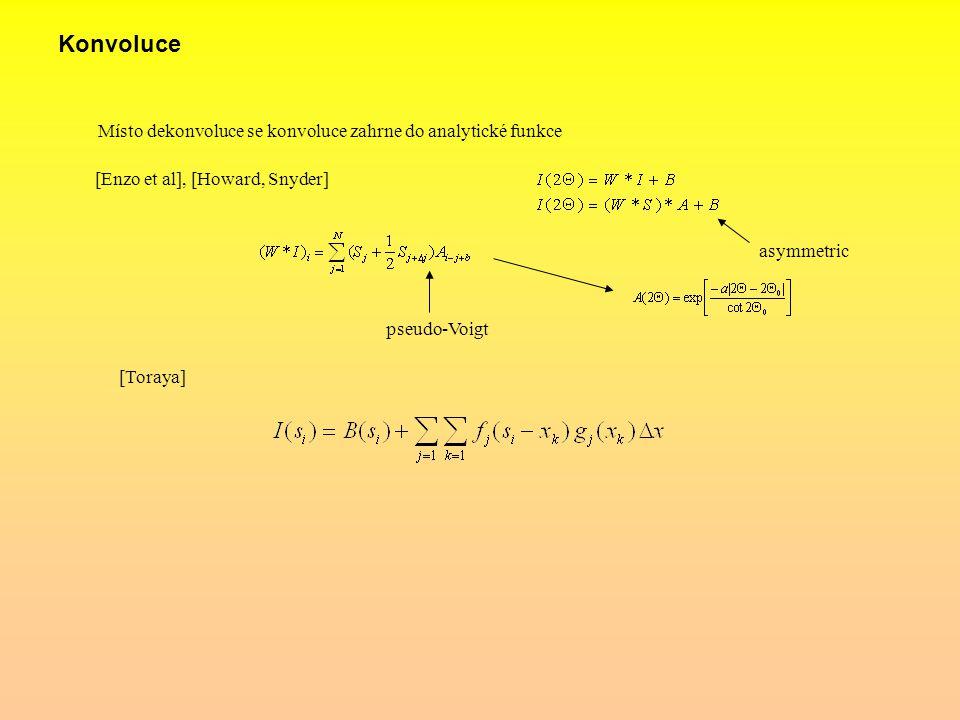 Konvoluce Místo dekonvoluce se konvoluce zahrne do analytické funkce