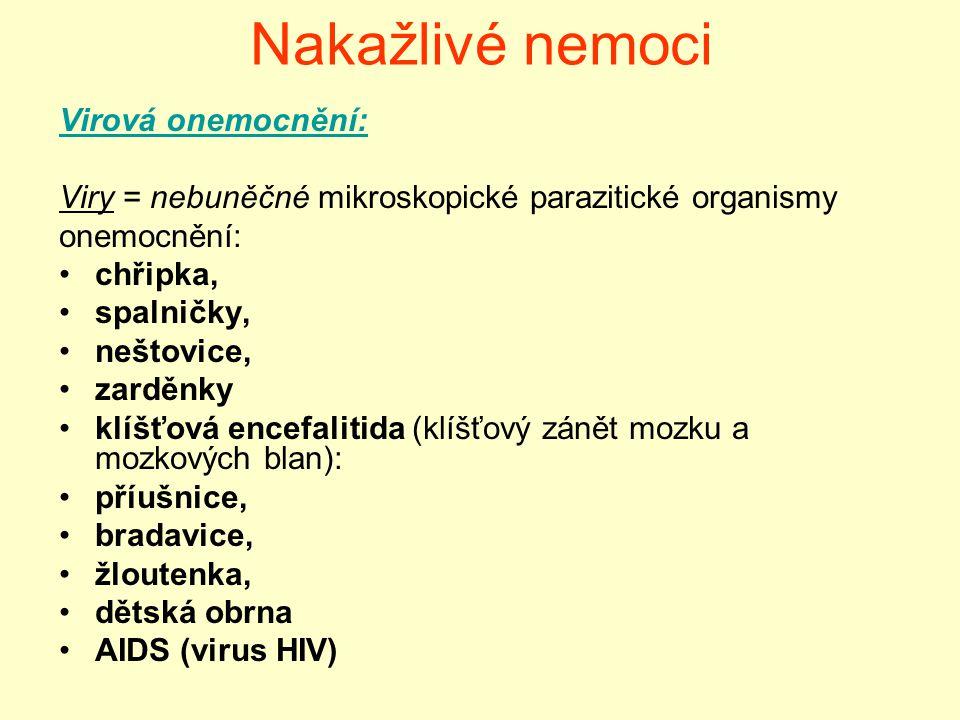 Nakažlivé nemoci Virová onemocnění: